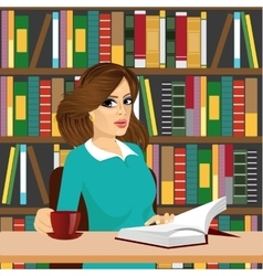 Friendly brunette student girl studying in library vector