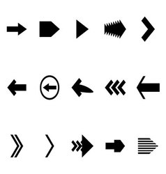 Set arrow black white icon vector
