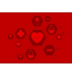 Bright red health background with medical vector