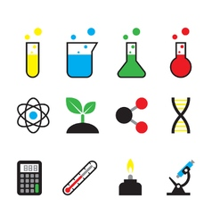 Science object icon set vector