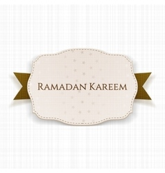 Ramadan kareem realistic emblem with text vector