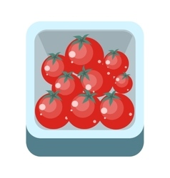 Tomatoes in tray flat design vector