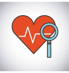 Lupe and stethoscope icon medical and health care vector