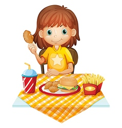 A young girl eating at the fastfood restaurant vector