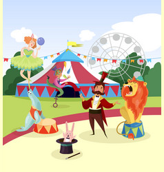 Amusement park with circus artists and marquee vector