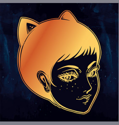 anime or retro manga style woman with cat ears vector image vector image