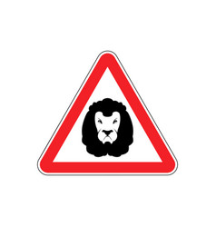 Attention lion leo on red triangle road sign vector