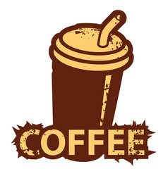 Banner with a disposable coffee cup with straw vector