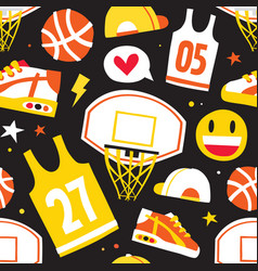 basketball hand drawn cartoon objects seamless vector image vector image