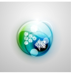 Blue and green futuristic circle and hand drawn vector image