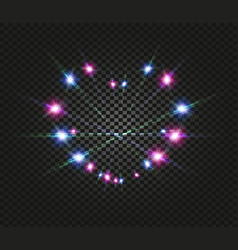 blue and pink light luminous effect on dark black vector image vector image