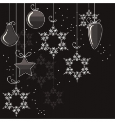 Christmas decorations and snowflakes vector image vector image