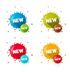 Colorful Stickers - Stains With New Title Set vector image