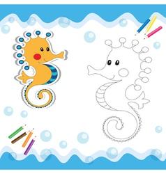 Coloring book seahorse vector