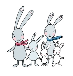 Family of cute cartoon hares vector image