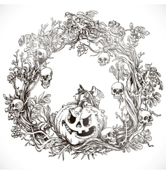 Festive decorative Halloween wreath vector image vector image