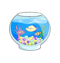 Fish tank cartoon cute sea vector