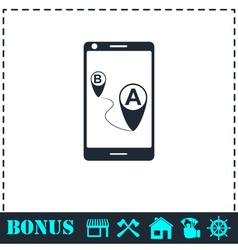 Gps phone icon flat vector