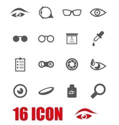 Grey optometry icon set vector