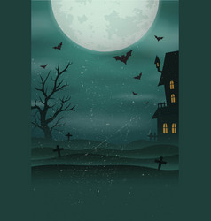 Halloween poster background foggy landscape of vector