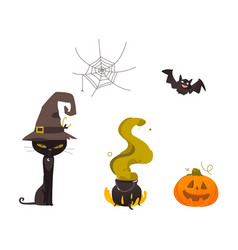 Halloween pumpkin cat witch hat web cauldron vector