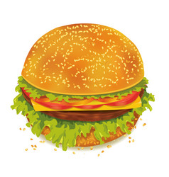 Hamburger with tomato pepper cheese ham lettuce vector image