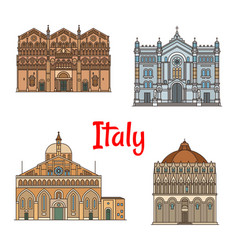 Italian travel landmark thin line icon set design vector