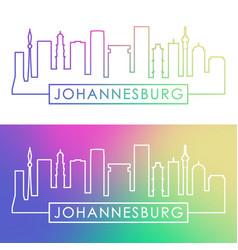 johannesburg skyline colorful linear style vector image