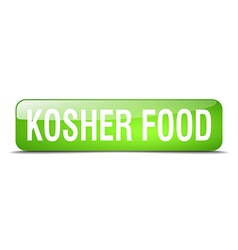 Kosher food green square 3d realistic isolated web vector