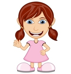 Little girl wearing a pink dress cartoon vector