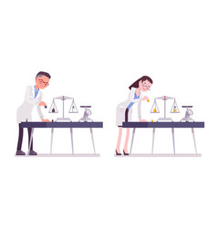Male and female scientist weight measuring vector