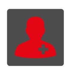 Medical volunteer flat button vector