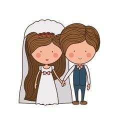 Portrait of wedding couple with costumes vector