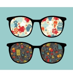 Retro sunglasses with cute robots reflection vector image vector image