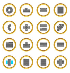 Road elements constructor icons circle vector