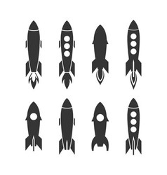 Rocket icon and rocket silhouette set icon design vector