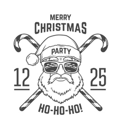 Santa claus with hipster glasses and candy cones vector