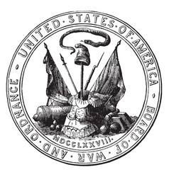 Seal of the board of war and ordnance 1776 vintage vector
