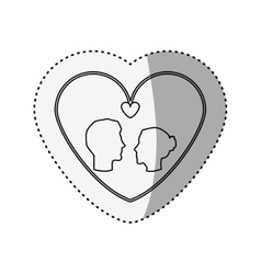 Sticker silhouette profile face engagement inside vector