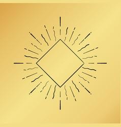 sun burst vintage hand drawn hipster gold logo vector image vector image