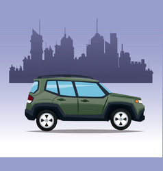 Suv car utility city background vector