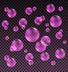 Transparent pink soap bubbles set on plaid vector image vector image