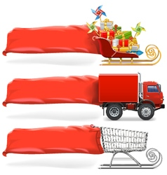 Transport with banner set 2 vector