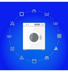 White wash machine with laundry icons on blue vector