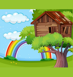Wooden treehouse in park vector