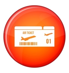 Airline boarding pass icon flat style vector