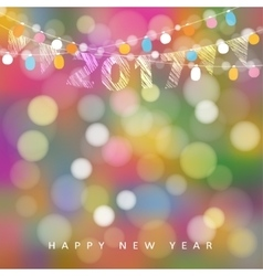Happy new year greeting card with string of vector
