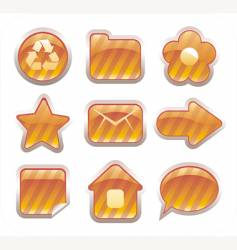 set of glossy golden icons vector image