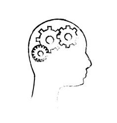 contour human man and gear process vector image