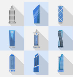 Skyscrapers set of isolated icons vector